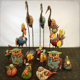 Colorful metal art birds