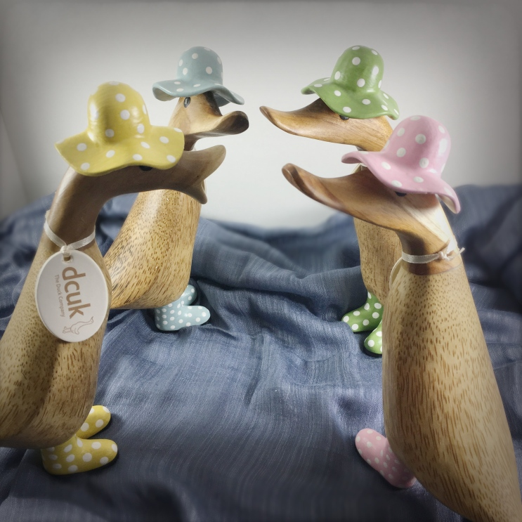 Hand carved wooden ducks